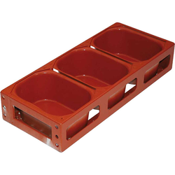 BAKING TIN SET PAN MOULD STRAP 45x25 3x2,9L 233mm Farmhouse 800g DD-type Aluminium Nonstick Silicone rubber coated RilonElast Red Internal 233x131x100mm Configuration 1x3 Deep drawn