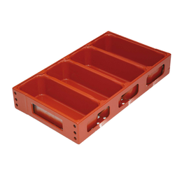BAKING TIN SET PAN MOULD STRAP 45x29 4x1,8L 270mm DD-type Aluminium Nonstick Silicone rubber coated RilonElast Red Internal 270x93x80mm Configuration 1x4 Deep drawn
