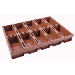 BAKING TIN SET PAN MOULD STRAP 45x60 10x1,2L 200mm SL-type Aluminium Nonstick Silicone rubber coated RilonElast Red Internal 200x90x70mm Configuration 2x5