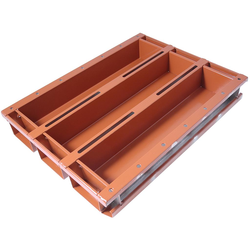BAKING TIN SET PAN MOULD STRAP 45x60 3x4,3L 520mm SL-type Aluminium Nonstick Silicone rubber coated RilonElast Red Internal 520x110x80mm Configuration 3x1