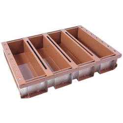 BAKING TIN SET PAN MOULD STRAP 45x60 4x4,0L 400mm SL-type Aluminium Nonstick Silicone rubber coated RilonElast Red Internal 400x105x100mm Configuration 1x4