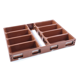BAKING TIN SET PAN MOULD STRAP 45x60 8x1,5L 240mm DD-type Aluminium Nonstick Silicone rubber coated RilonElast Red Internal 240x95x70mm Configuration 2x4 Deep drawn