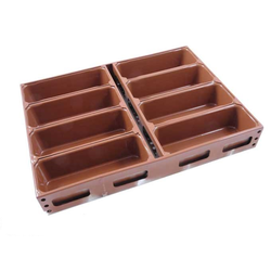 BAKING TIN SET PAN MOULD STRAP 45x60 8x1,8L 270mm DD-type Aluminium Nonstick Silicone rubber coated RilonElast Red Internal 270x93x80mm Configuration 2x4 Deep drawn