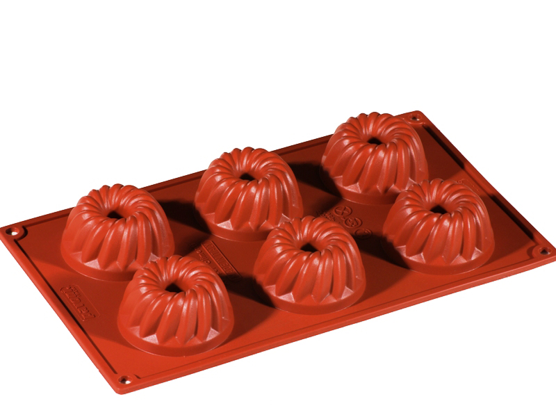 SILICONE BAKING MOULD PAN GN1/3 GUGELHUPF  70ml (6x ø60x33mm)   {Conforms with: EU 1935/2004, EU 2023/2006}
