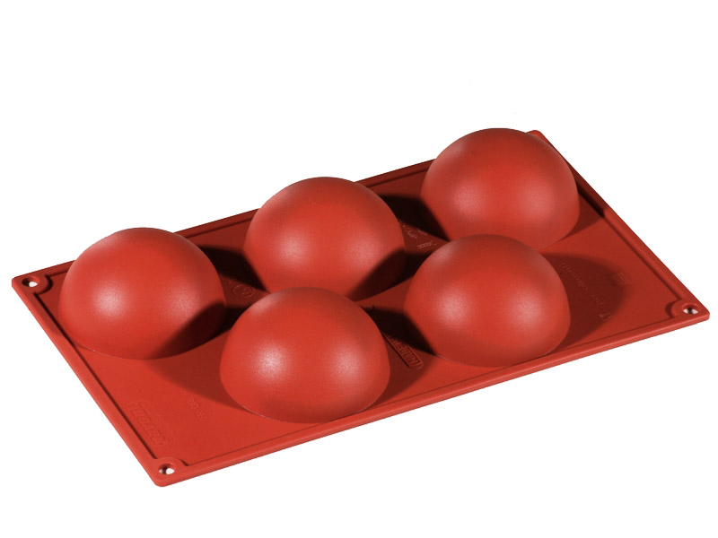 SILICONE BAKING MOULD PAN GN1/3 HALF SPHERE 134ml (5x ø80x40mm)   {Conforms with: EU 1935/2004, EU 2023/2006}