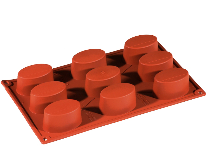 SILICONE BAKING MOULD PAN GN1/3 OVAL  52ml (9x 65x41x34mm)   {Conforms with: EU 1935/2004, EU 2023/2006}