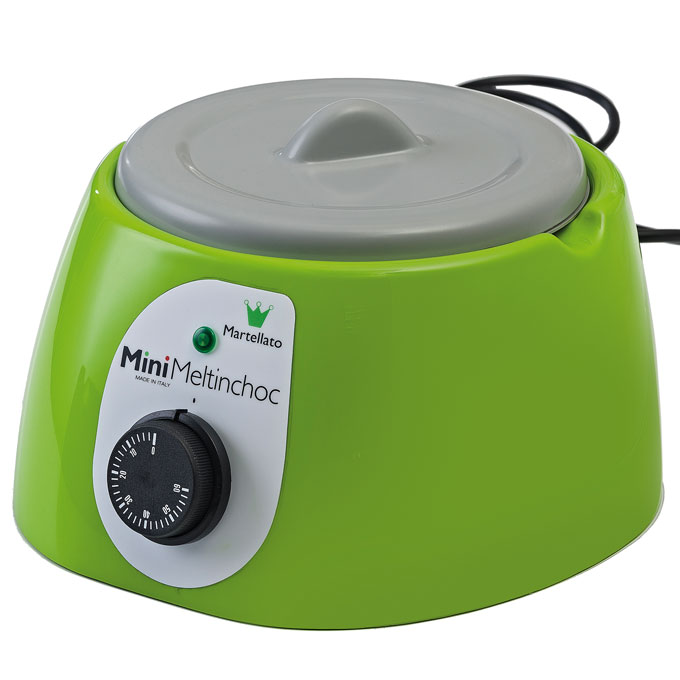 CHOCOLATE MELTER  1,8L Green 1~230VAC Removable bowl anodized aluminium ø185x107mm with lid
